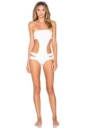 Adriana Degreas Strapless Cut Out Swimsuit White