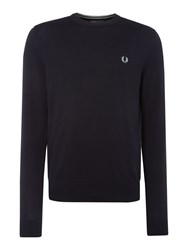 Fred Perry Men's Cotton Crew Neck Jumper Navy