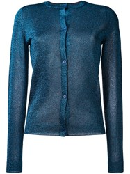 Jil Sander Navy Lurex Cardigan Blue