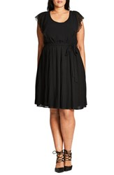 City Chic Plus Size Women's 'Cute Cutout' Belted Chiffon Dress Black