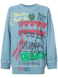Vivienne Westwood Anglomania Graphic Writing Sweater Blue