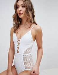 New Look Mixed Mesh Plunge Swimsuit White