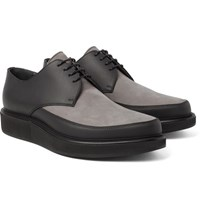 Lanvin Two Tone Leather And Nubuck Derby Shoes Charcoal