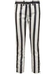 Ann Demeulemeester Cropped Striped Trousers White