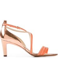 L'autre Chose Kitten Heel Strappy Sandals Yellow And Orange