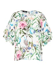 Hallhuber Crape Blouse With Meadow Flowers Print Multi Coloured Multi Coloured