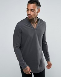 Asos Longline Long Sleeve T Shirt With Notch Neck And Curve Hem Green Black