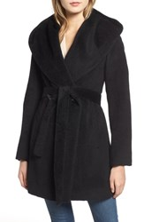 Trina Turk Grace Hooded Wrap Walker Coat Black