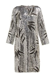 Dodo Bar Or Clara Floral Sequinned And Beaded Shift Dress Silver