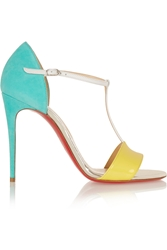 Christian Louboutin True Blue 100 Suede Leather And Patent Leather T Bar Sandals