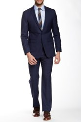 Vince Camuto Navy Graph Two Button Notch Lapel Slim Fit Wool Suit Blue