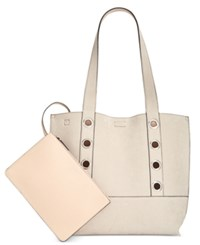 Calvin Klein Grommet Suede Reversible Tote With Pouch Khaki