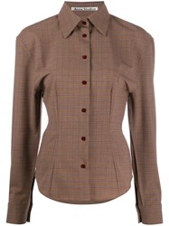Acne Studios Houndstooth Structured Shirt Brown