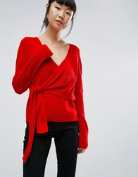 Asos Jumper With Wrap And Tie Red