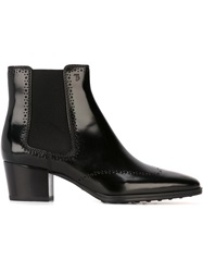 Tod's Pointed Toe Chelsea Boots Black