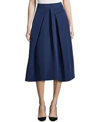 Rebecca Taylor Inverted Pleat Midi Skirt Navy