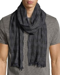 John Varvatos Check Wool Blend Scarf Black