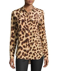 Equipment Silk Slim Signature Long Sleeve Shirt Cheetah