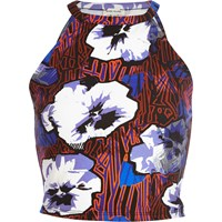 River Island Womens Blue Graphic Floral Print Crop Top