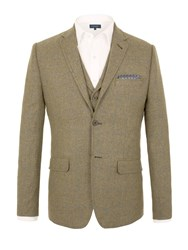 Racing Green Wright Herringbone Tailored Jacket Olive