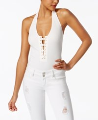 Material Girl Juniors' Lace Up Bodysuit Only At Macy's Cloud Dancer