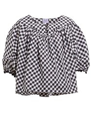 Thierry Colson Vichy Theda Gingham Cotton Blouse Black Multi