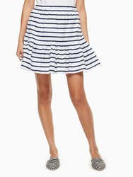 Kate Spade Stripe Cotton Flounce Skirt Fresh White Rich Navy