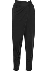 Issa Prudencia Draped Stretch Jersey Tapered Pants Black