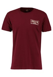 Deus Ex Machina Stacks Print Tshirt Maroon Bordeaux