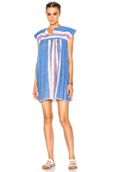 Lemlem Elsi Short Caftan Dress In Blue Stripes Blue Stripes