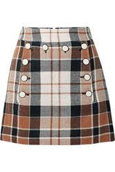 Veronica Beard Ording Button Detailed Checked Cotton And Flax Blend Mini Skirt Camel