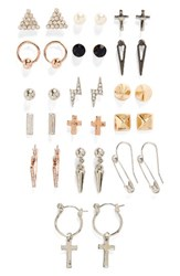 Topshop Women's Punk Style 16 Pack Earrings