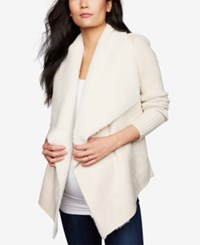 A Pea In The Pod Maternity Draped Faux Suede Jacket Bone