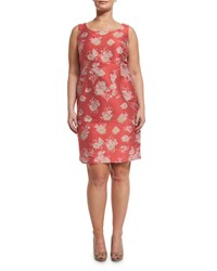 Marina Rinaldi Downtown Floral Print Sheath Dress W Attachable Sleeves Women's Red