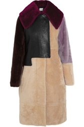 3.1 Phillip Lim Patchwork Shearling And Leather Coat Nude