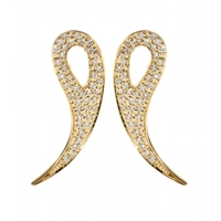 House Of Waris 18Kt Gold Drop Spike Earrings With White Pave Diamonds