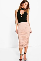 Boohoo Rouched Side Jersey Midi Skirt Sand