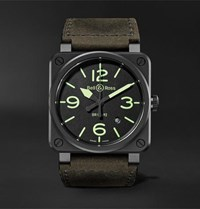 Bell And Ross Br03 92 Nightlum Automatic 42Mm Ceramic Leather Watch Black
