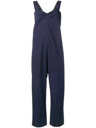 Sara Lanzi Plain Straight Cut Jumpsuit Blue