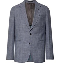 Paul Smith Navy Soho Slim Fit Puppytooth Wool Silk And Linen Blend Suit Jacket Navy