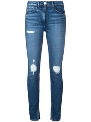 3X1 Slit Ankles Cropped Jeans Blue