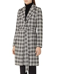 Reiss Rowan Textured Check Coat Black Off White