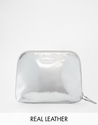 Wood Wood Leather Clutch Bag Silver