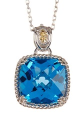 Phillip Gavriel 18K Yellow Gold And Sterling Silver Swiss Blue Topaz Cushion Pendant Necklace