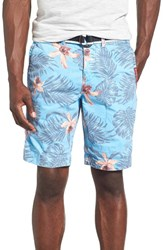 Men's Superdry 'International' Print Belted Chino Shorts Palm Orchid Sky Blue
