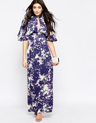 Liquorish Maxi Dress With Kimono Sleeves In Blurred Floral Print Navy