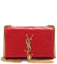Saint Laurent Small Kate Monogram Embossed Leather Shoulder Bag Red