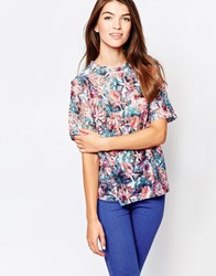 Glamorous Shell Top In Lace Floral Multi