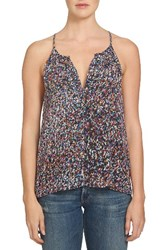 1.State Women's Split Neck Chiffon Tank