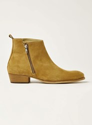 Topman Brown Tan Suede South Zip Boots